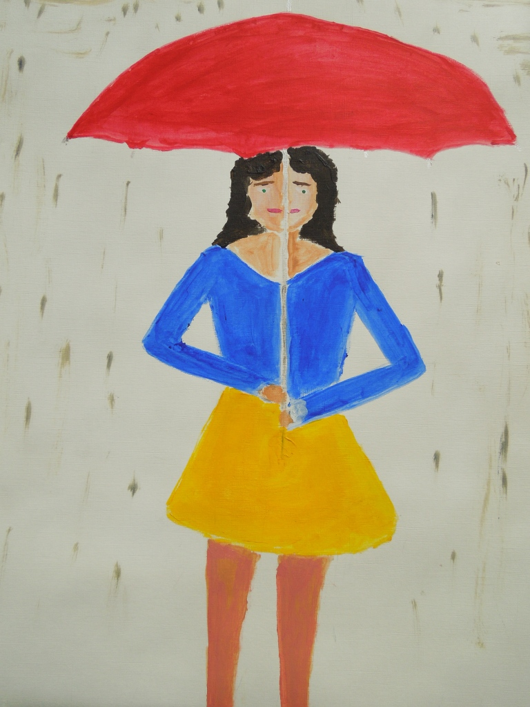 sheltering -from- the -rain -oil -painting- on- paper