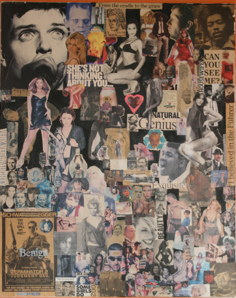 a collage of newspaper and magazine cuttings mounted on a stretched canvas with a black back ground. The work contains images of personalities such as Mohammad Ali, Frankenstein, eric cantona amongst others to create a cohesive and full pictorial essay
