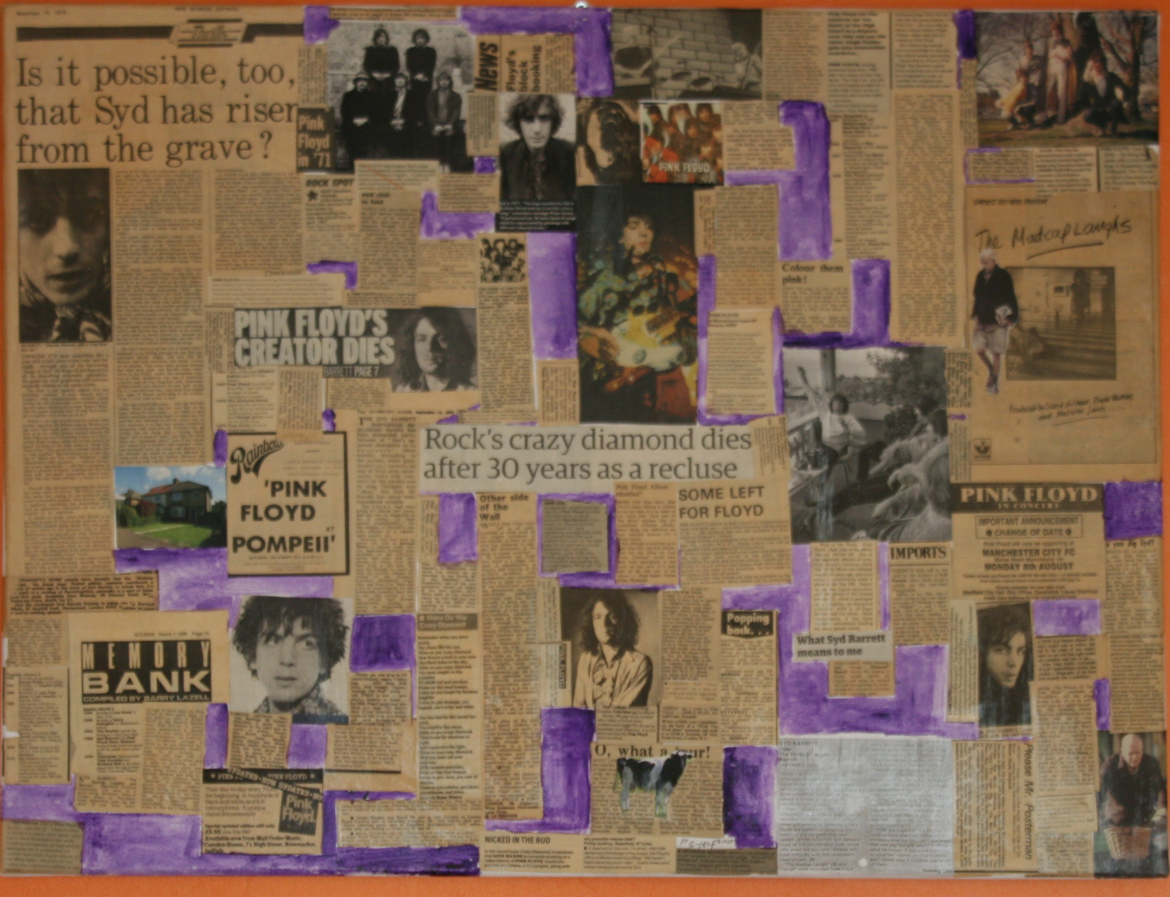 pictorial and printed word essay on Syd Barrett , founder member of Pink Floyd
