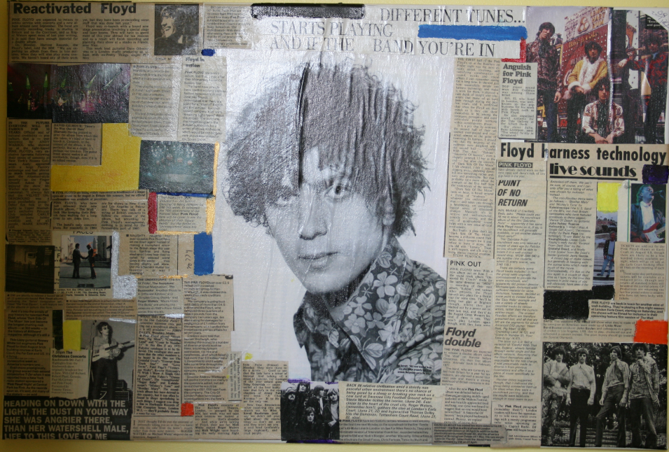 A piece of artwork centring around Syd Barrett of Pink Floyd